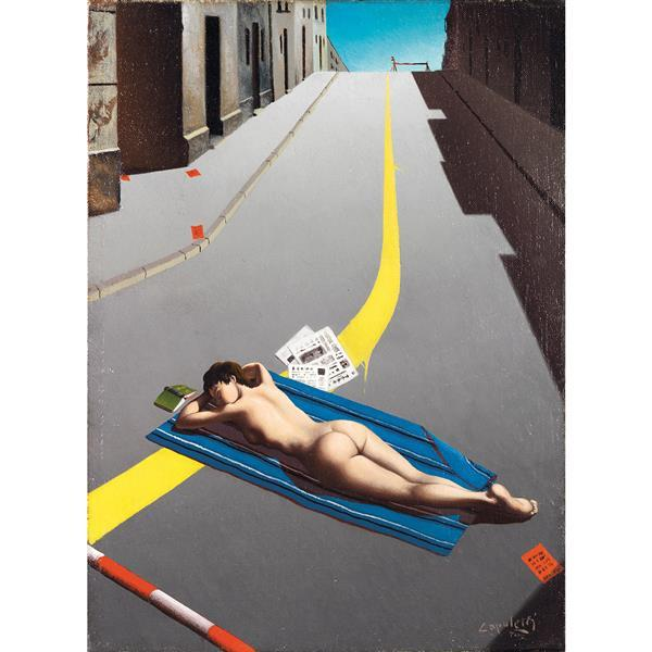 JOSÉ MANUEL CAPULETTI. Mujer desnuda estirada sobre la carretera