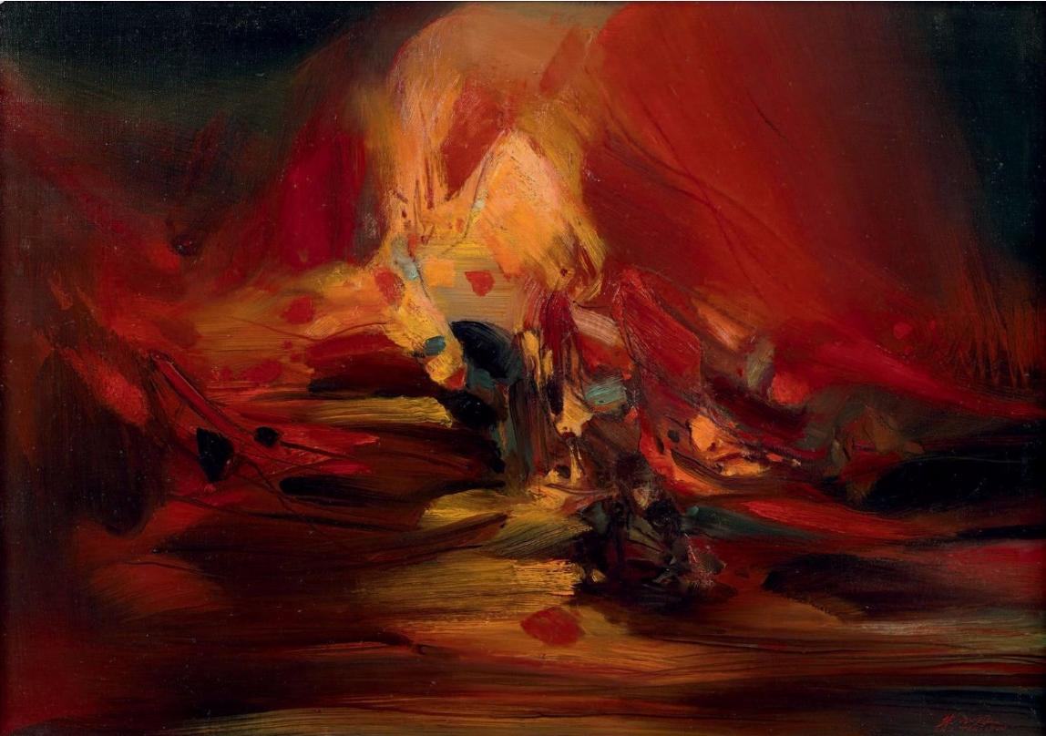 CHU TEH-CHUN (1920-2014) Composition n° 546, circa 1975 Huile sur toile, signée en bas à droite, numérotée au verso