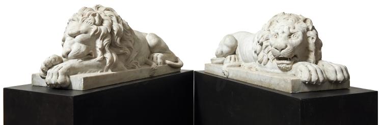 ANTONIO CANOVA (1757 Possagno - 1822 Venedig) Schüler - Paar liegende Löwen. Marmor, Italien 1790-95