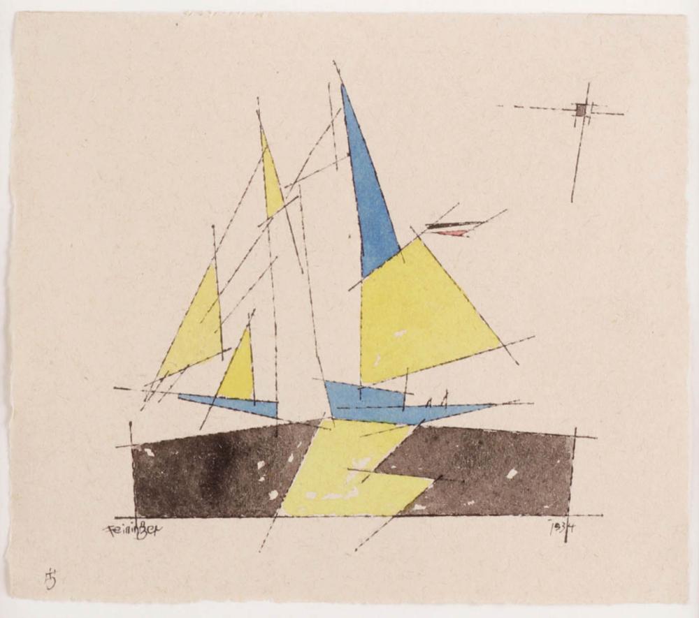 LYONEL FEININGER (1871 New York 1956) - Kleiner Zweimastsegler, Aquarell u. Tuschfeder/Papier, signiert und datiert, 1934