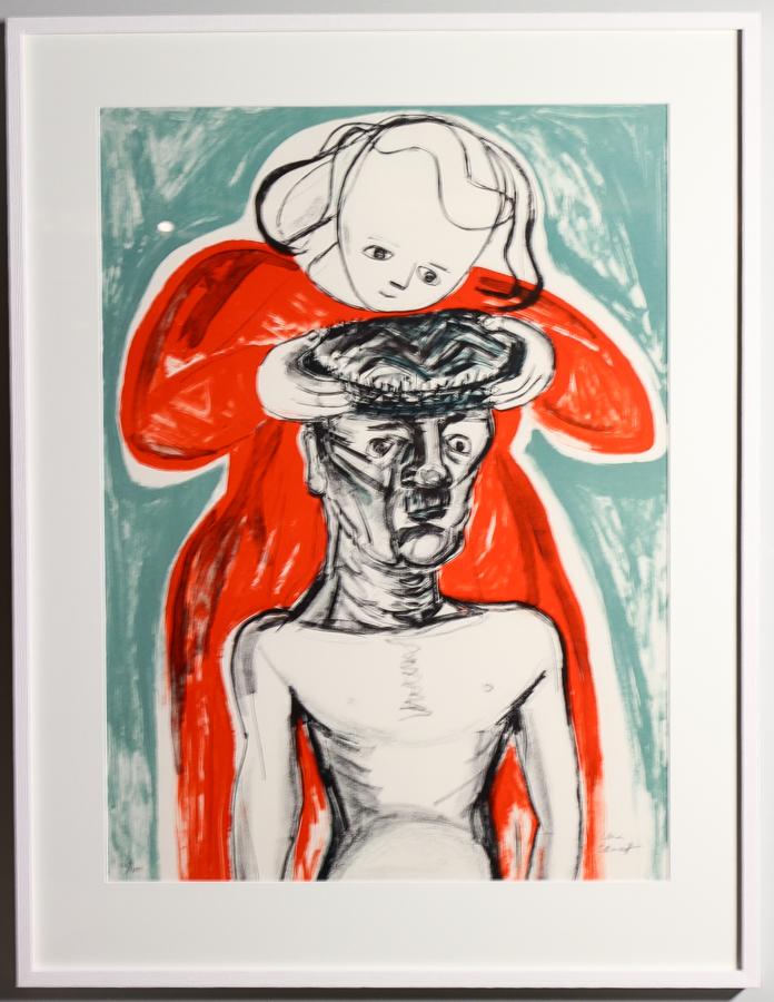 """Lena Cronqvist (1938) Figurscen ur mappen August Strindbergs """"Ett drömspel"""". Färglitografi, nr. 148/170. Bildstorlek 71 x 51 cm. Signerad Lena Cronqvist. Följerätt. Utrop: 2.000 Sek. Auktionsbyrån Effecta"""