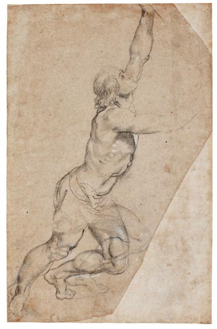 Sir Peter Paul Rubens, Étude nue d'un jeune homme aux bras levés, image ©Sotheby's