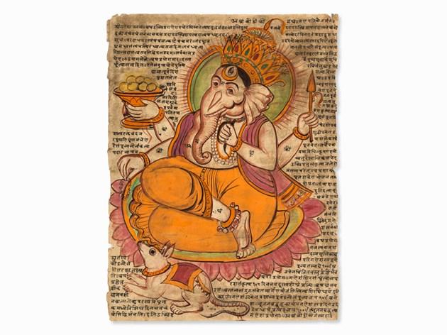 Peinture tantrique avec une représentation de Ganesha Estimation basse: 800 €