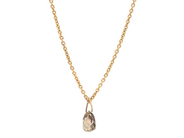 Halsband, 18K roséguld med briolettslipad brun diamant.