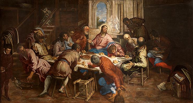 Jacopo Tintoretto, The Last Supper, c. 1563/1564, oil on canvas, Church of San Trovaso, Venice