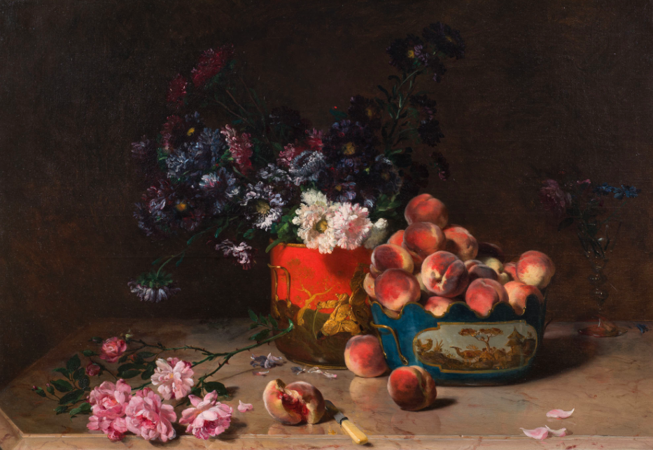 Philippe Rousseau, stilleben med persikor och blommor. Utropspris: 91 000 - 113 000 kronor.