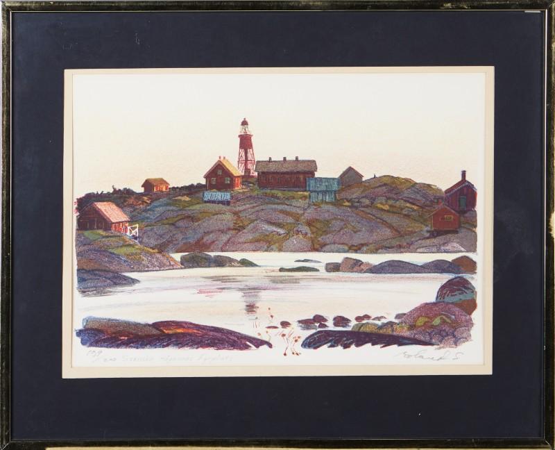 """Roland Svensson, """"Svenska Högarnas fyrplats"""", färglitografi. Foto: Stockholms Auktionsverk."""