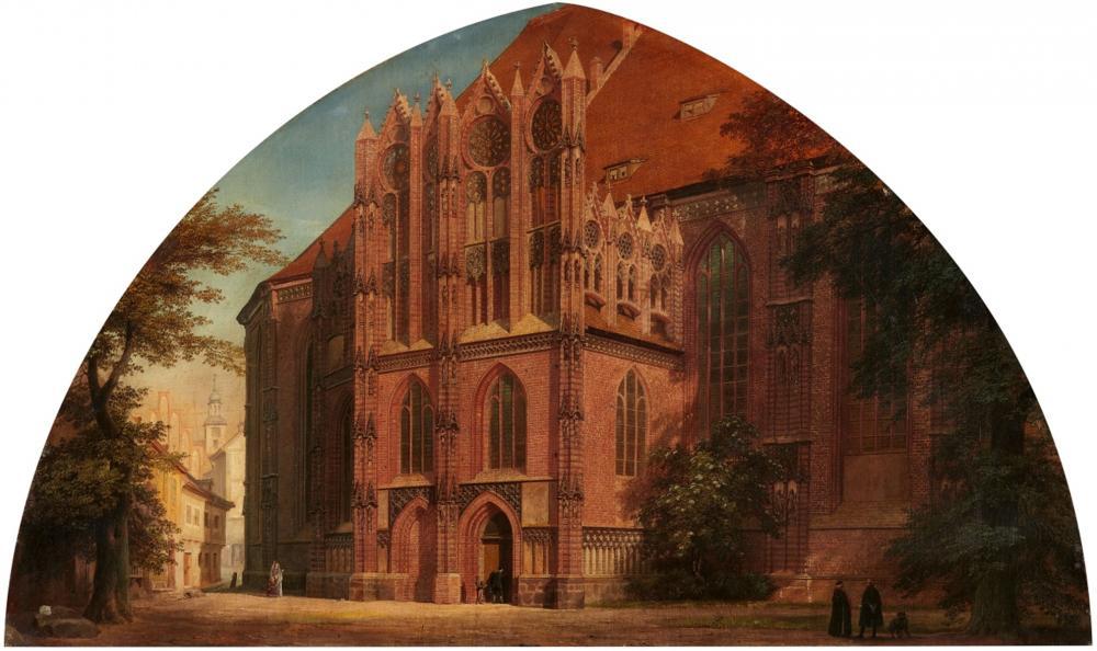 Eduard Gaertner, Vue de l'église Sainte-Catherine du Brandebourg sur le Havel, huile sur toile, 1868, image ©Lempertz