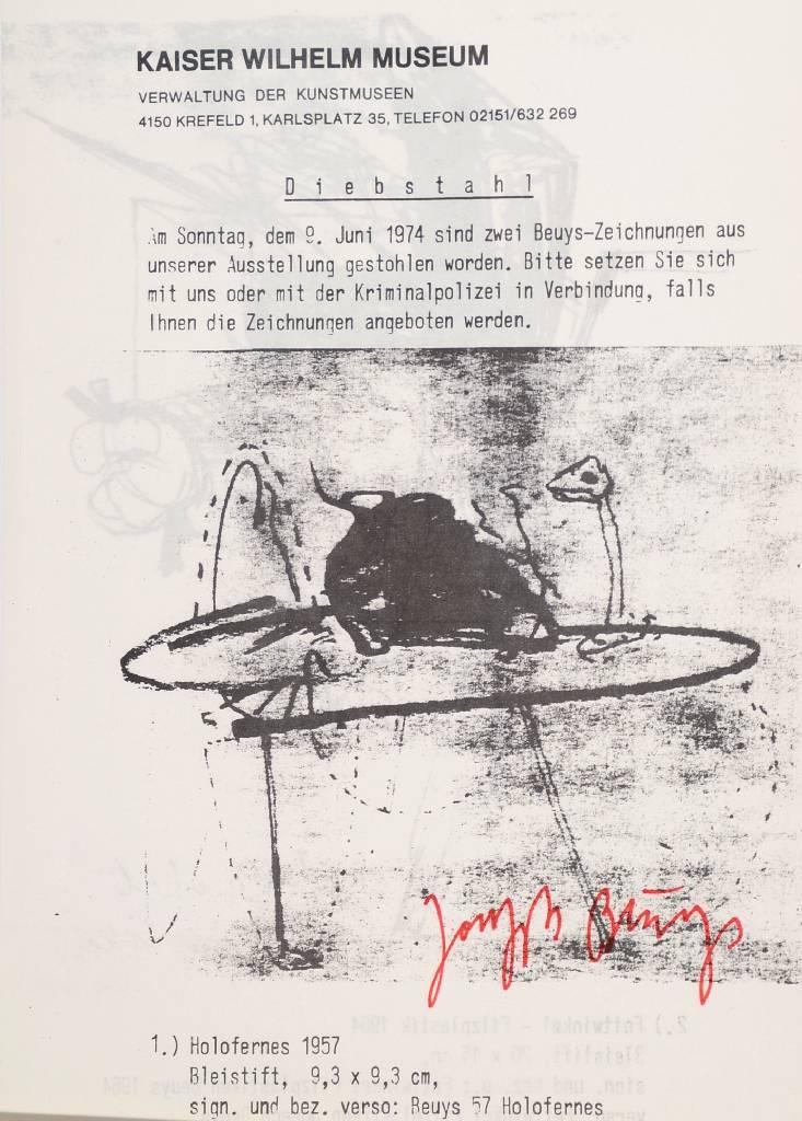 Joseph Beuys, Diebstahl, Offset, 1974/77, anlässlich Diebstahlsuche Kaiser Wilhelm Museum Krefeld, handsigniert Mindestgebot: 150 EUR Henry's
