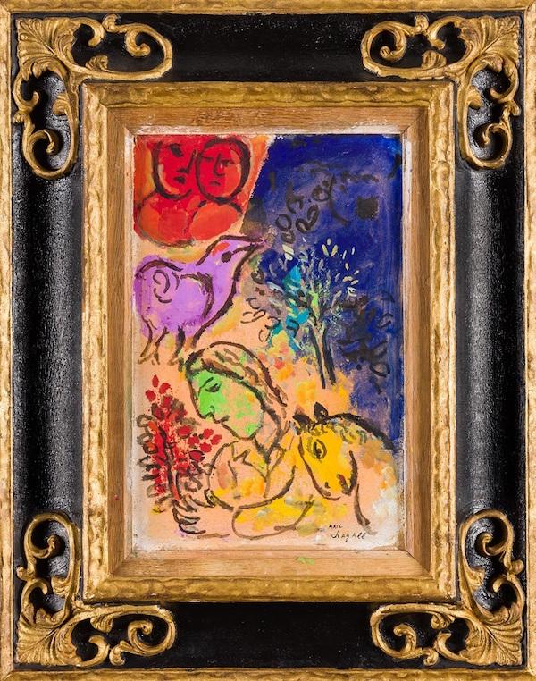 """Marc Chagall (Witebsk 1887 - 1985 Saint-Paul-de-Vence), """"Lila fågel"""" (fritt översatt)."""