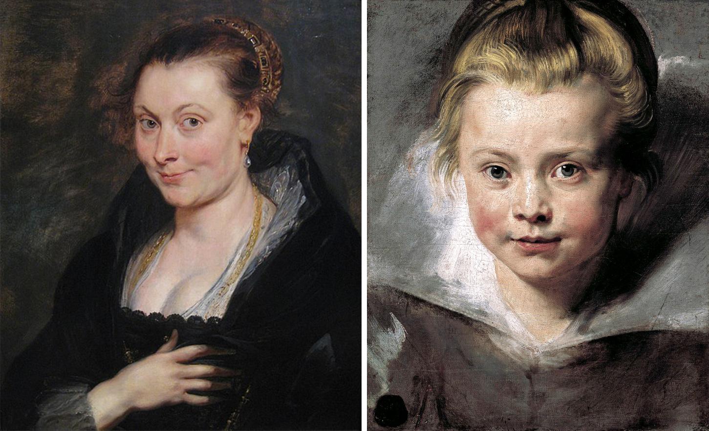 Peter Paul Rubens, till vänster ett porträtt av Isabella Brant, cirka år 1620-1625. / Höger: Ett porträtt av dottern Clara Serena Rubens, år 1618. Foton via Wikipedia.