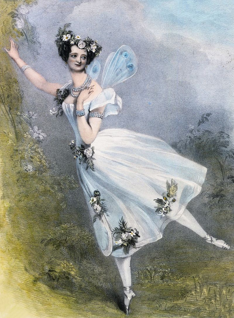 Flore et Zephire Lithograph by Chalon and Lane of Marie Taglioni as Flora in Didelot's Zéphire et Flore. London, 1831 (Victoria and Albert Museum/Sergeyev Collection)