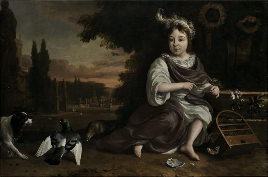JAN WEENIX (1640 Amsterdam - 1719) - Portraitbildnis des Prinzen von Oranien mit Vogelkäfig in Parklandschaft, Öl/Lwd., 102 x 154 cm Schätzpreis: 70.000-100.000 EUR