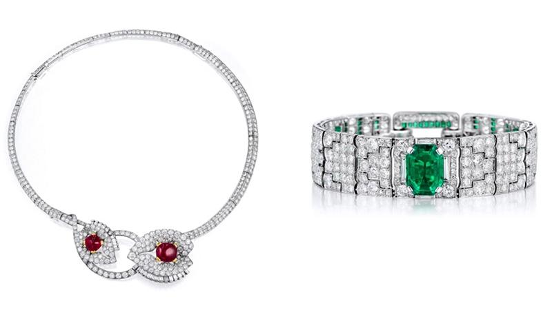 Links: CARTIER Art déco-Collier/Broschen aus Platin und GG mit Burma-Rubinen und Diamanten Rechts: CARTIER Art déco-Armband aus Platin mit kolumbianischem Smaragd und Diamanten