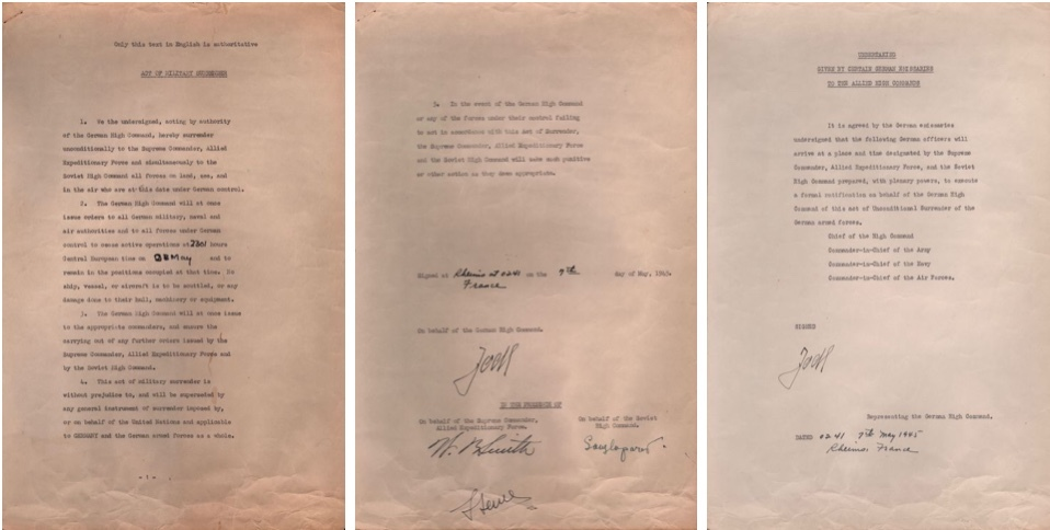 Les trois pages de l'acte de capitulation du 7 mai 1945