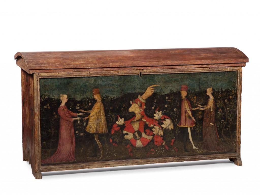 ANTONIO PISANO gen. PISANELLO (Pisa 1395 - 1455 in Rom) Umkreis - Hochzeitstruhe, polychrom bemaltes Holz, 96 x 182 x 69 cm Schätzpreis: 90.000-120.000 EUR