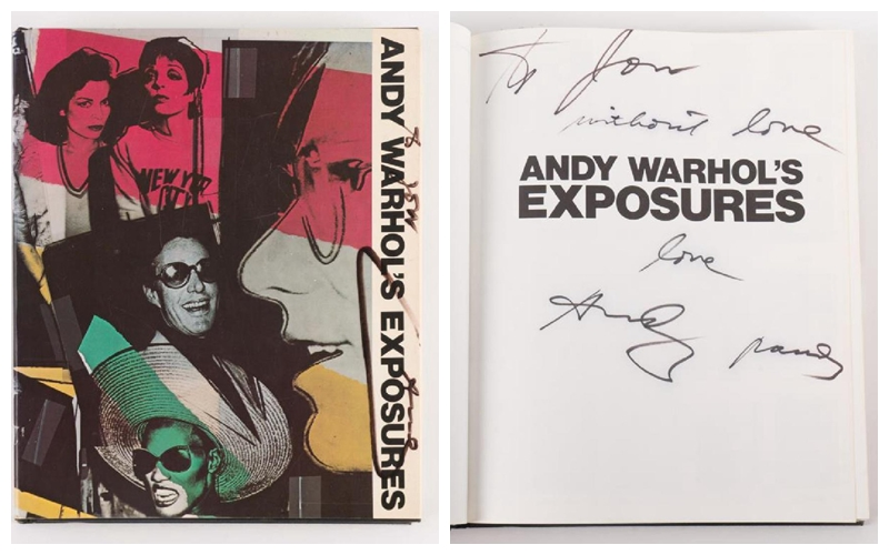 ANDY WARHOL. Libro Exposures. Firmado: ''A Jon, Without Love - Love, Andy Pandy''