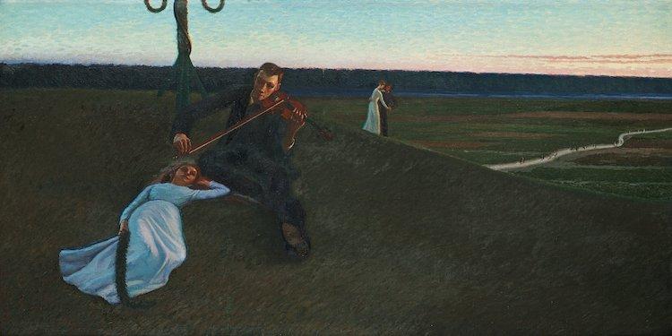 """Året innan målade Eva Bonnier den sagolika målningen """"Midsommar"""". Den svenska sommarnattsskildringen kostade köparen 128 625 kronor på Bukowskis 2014."""