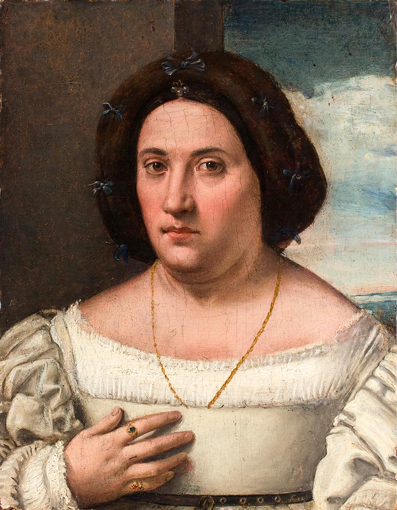 LORENZO LOTTO (Venedig 1480 - Loreto 1556) zug. - Portrait einer Edeldame, Öl/Holz, 53x40,5 cm, ca. 1518 Schätzpreis: 40.000-60.000 EUR