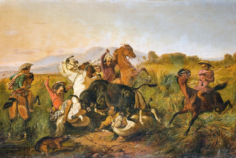 "Raden Saleh, ""Wild Bull Hunting (Bateng)"", 1855. Foto: The Jakarta Post"