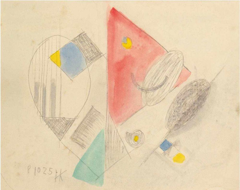 Hans Kinder (1900 Dresden 1986), Fallendes rotes Dreieck, Bleistift/Aquarell, monogrammiert, 1925