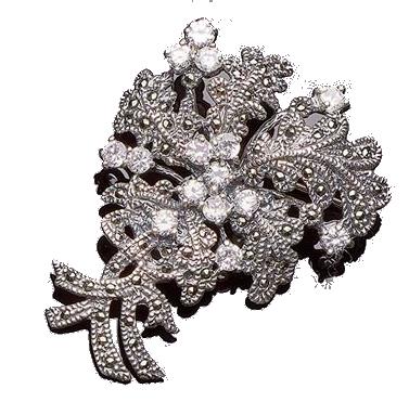 Brosche aus Silber mit Zirkonen und Markasiten Schätzpreis: 45 EUR