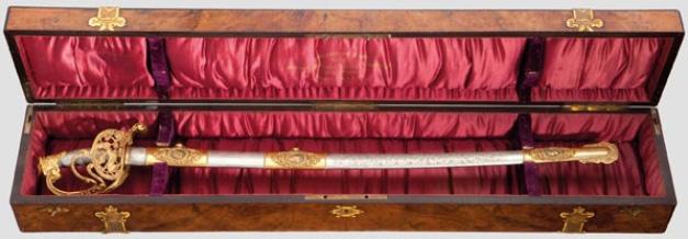 Sabel som år 1902 skänktes till prins Heinrich av Preussen i gåva Utropspris: 208 000 SEK Hermann Historica