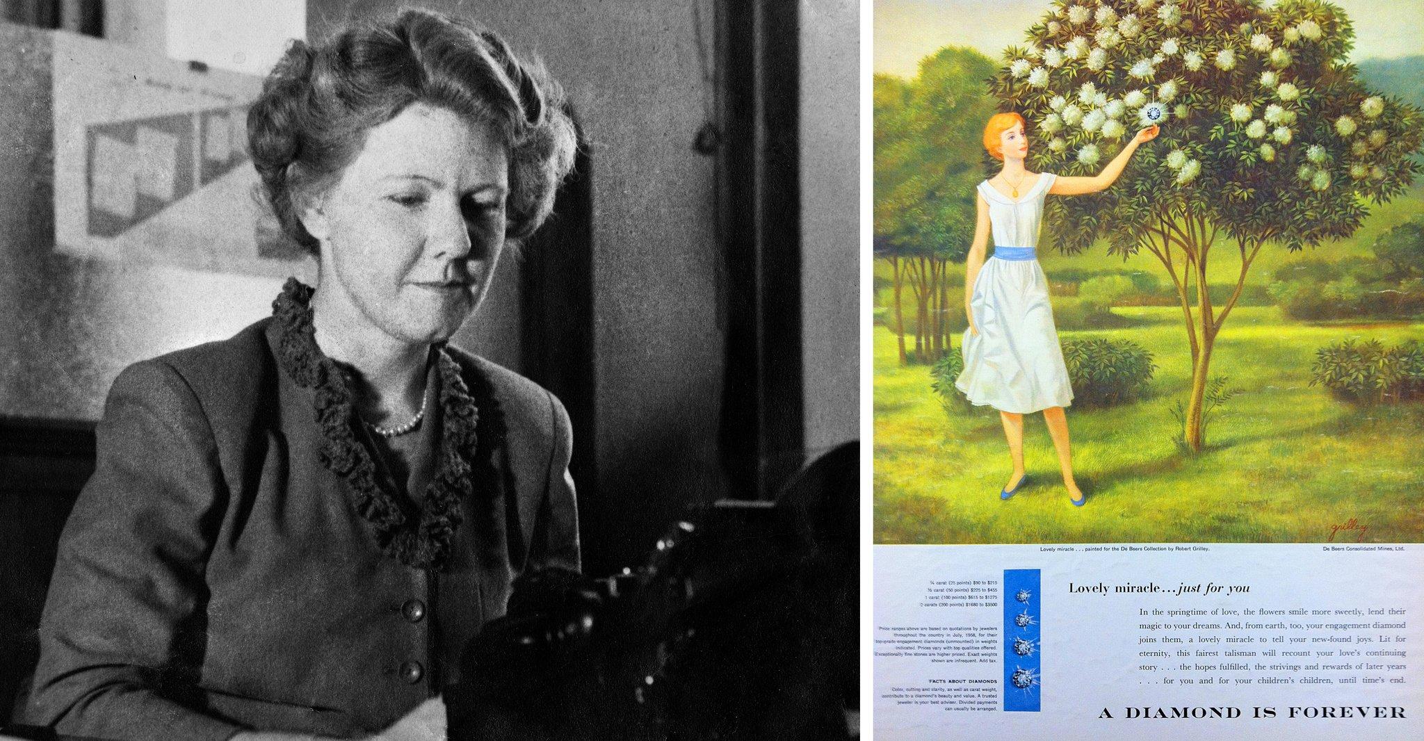 Die Texterin Mary Frances Gerety und eine ihrer Werbekampagnen für De Beers