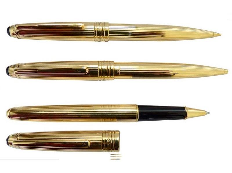Juego de portaminas, roller y bolígrafo MONTBLANC en oro macizo. Modelo 'Meisterstück Solitaire Classique'