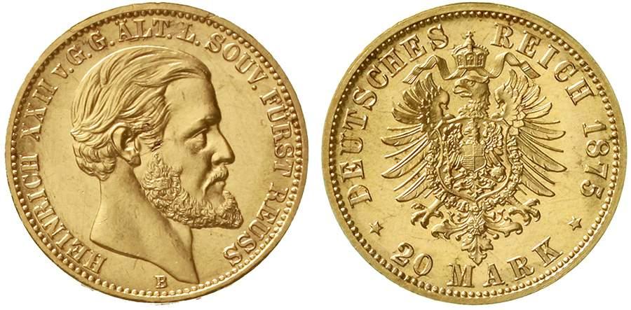 Reuß, ältere Linie Heinrich XXII. 20 Mark 1875