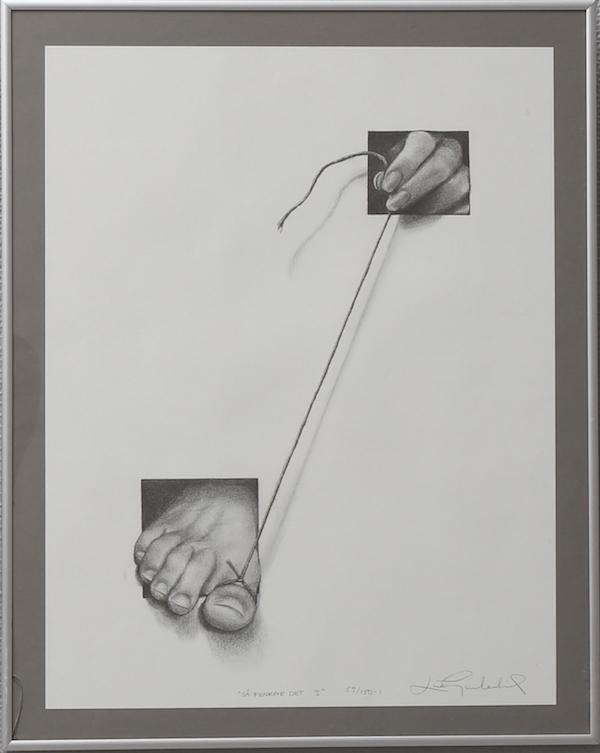 """Litografi, Lina Gardelid, """"Så funkar det"""". På auktion hos Växjö Auktionskammare."""