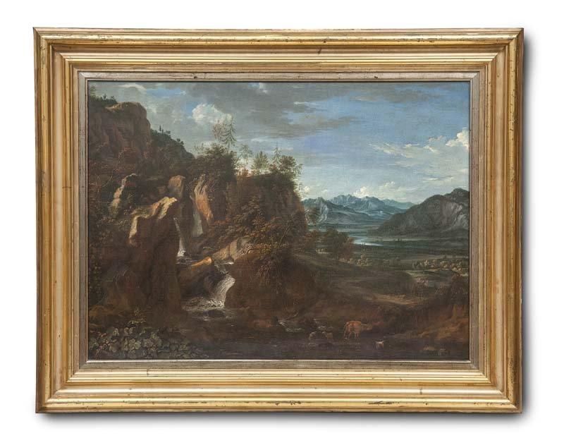 Unbekannter Künstler Nachfolge Johann Alexander Thieles) - Landschaft mit Felsformation und Blick ins nahe Gebirge, Öl/Lwd., 98 x 69,5 cm, um 1800 Startpreis: 6.000-12.000 EUR