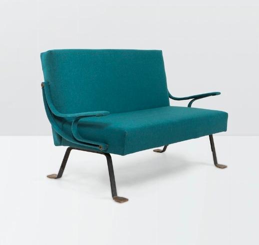 Ignazio Gardella, a Digamma Sofa in Enamelled Steel with a Rubber Padding. Photo: Cambi Casa d'aste