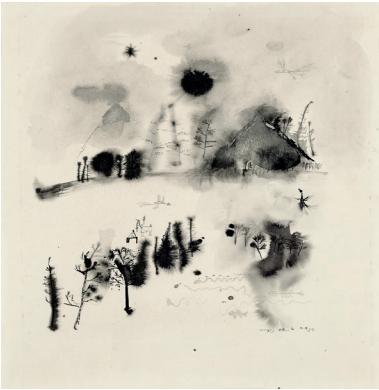 AKTIS GALLERY, London Zao Wou-Ki (1920-2013) Untitled, 1950, signé et daté Encre sur papier, 34 cm sq. (13 1/2 in)