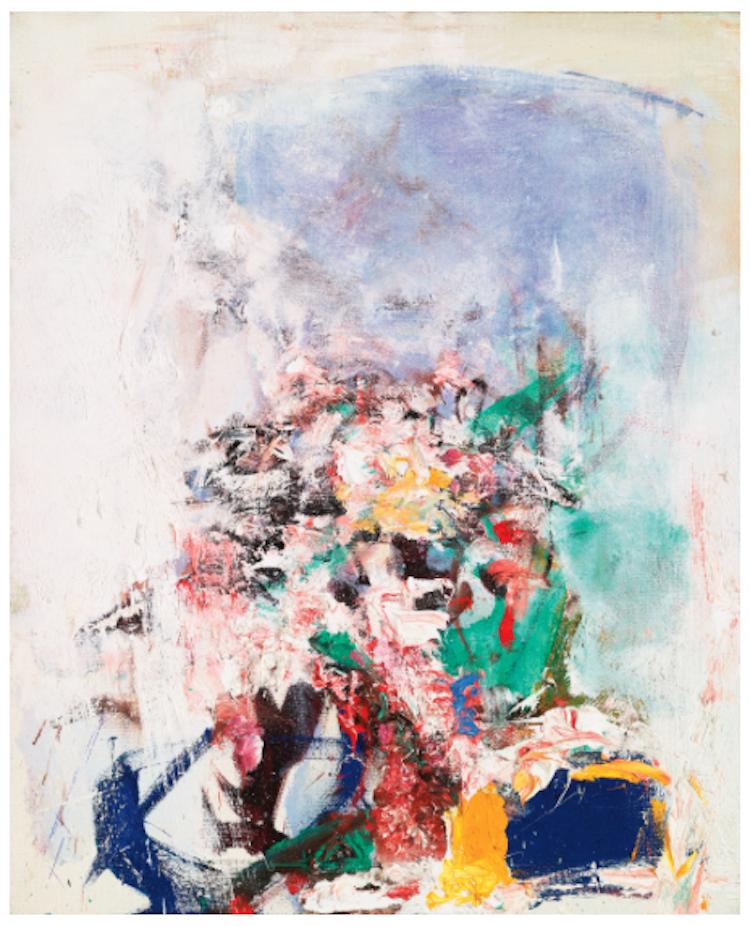 """Joan Mitchell, """"Untitled"""", (1974), olja på duk . """"Untitled"""" som målades 1974, samma år som Joan Mitchells viktiga utställning på Whitney Museum of American Art, är ett enastående exempel på konstnärens teknik. Utropspris 3 470 000 SEK."""