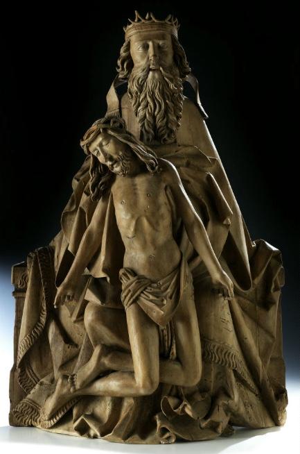 MICHEL EHRHARDT (um 1440/45 – nach 1522 Ulm) zug. - Gnadenstuhl, Lindenholz, geschnitzt, 79 x 54 cm, um 1500/1510 Schätzpreis: 80.000-120.000 EUR