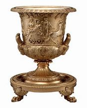 An 1810 silver-gilt wine-cooler with bas-relief frieze, Vermeil Room, White House. Image: Whitehouse.gov