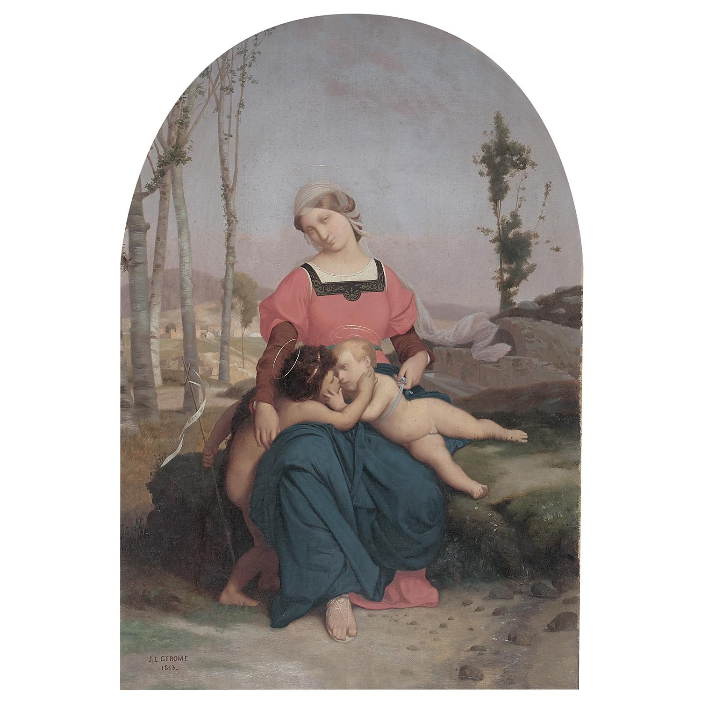 Jean-Léon GERÔME, « Vierge à l'Enfant et saint Jean-Baptiste dans un arc peint », image ©Tajan