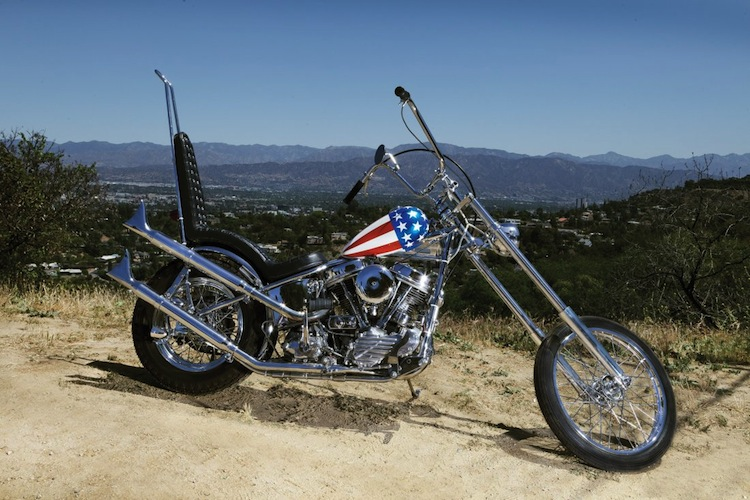 """Peter Fonda's """"Wyatt"""" iconic screen-used """"Captain America"""" panhead chopper from Easy Rider. (Columbia, 1969). Estimated at $1,000,000 - $1,200,000. Profiles in History"""