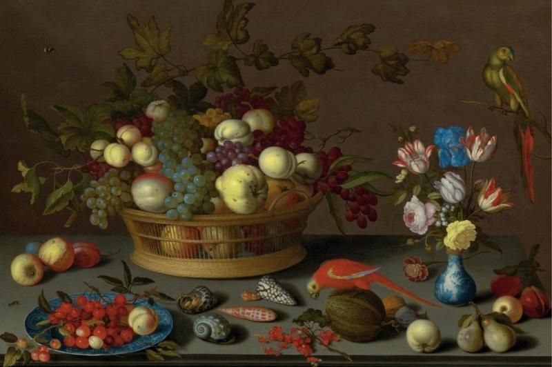 BALTHASAR VAN DER AST. Frutas, coquillas, insectos, flores en un florero y dos loros. Firmado (1620). Precio estimado: de 797.000 a 1.111.110 €