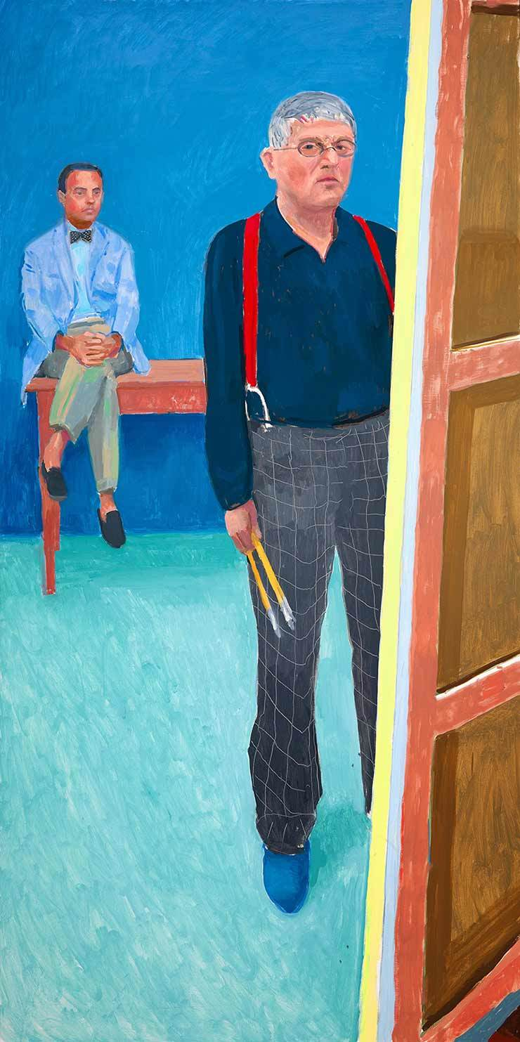 David Hockney, Self Portrait with Charlie, år 2005. Foto: Collection National Portrait Gallery, London.