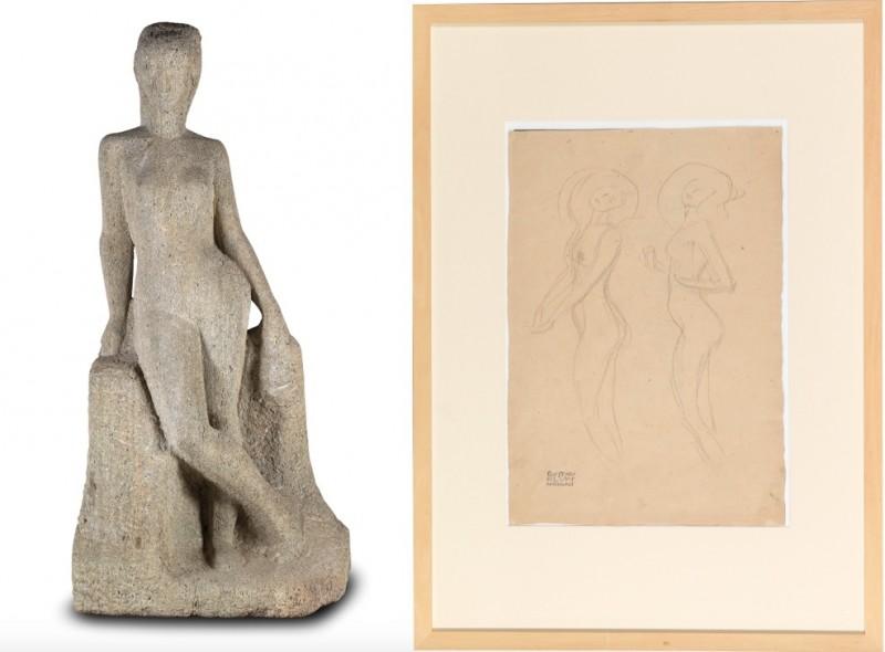 """Vänster: Fritz Wotruba, """"Großen Stehenden"""". Höger: Gustav Klimt, studie inför """"Irrlichter"""". Foto: Dorotheum."""