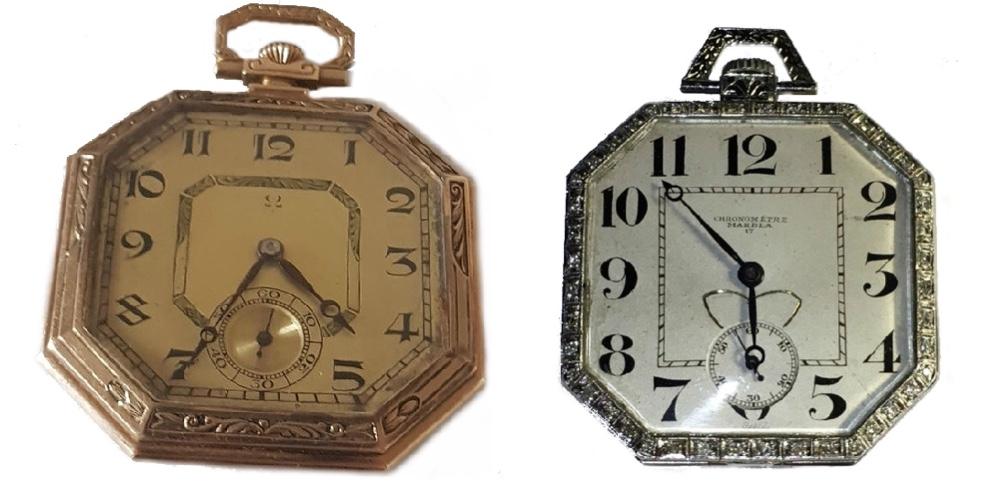 Links: OMEGA - Art Déco-Frackuhr aus Gelbgold, Schweiz um 1930 Rechts: Art Déco-Frackuhr aus Platin mit Diamantsplittern, Schweiz um 1930