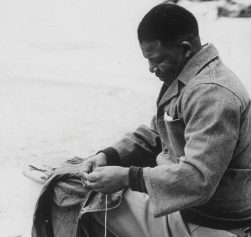 Mandela in the Robben Island prison, circa 1966. Photo: Getty Images