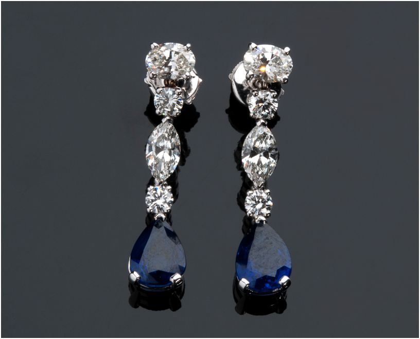 PETOCHI - white gold earrings with sapphires (6.50 ct) and diamonds (3.78 ct), Rome Estimate: 31 000-35 000 EUR