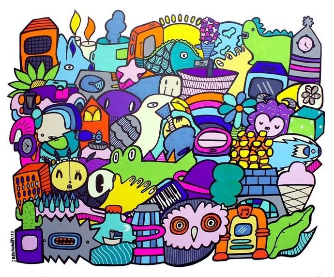 Kev Munday « Cacti, Crocs & Convertibles », acrylique sur toile, signée, 2018