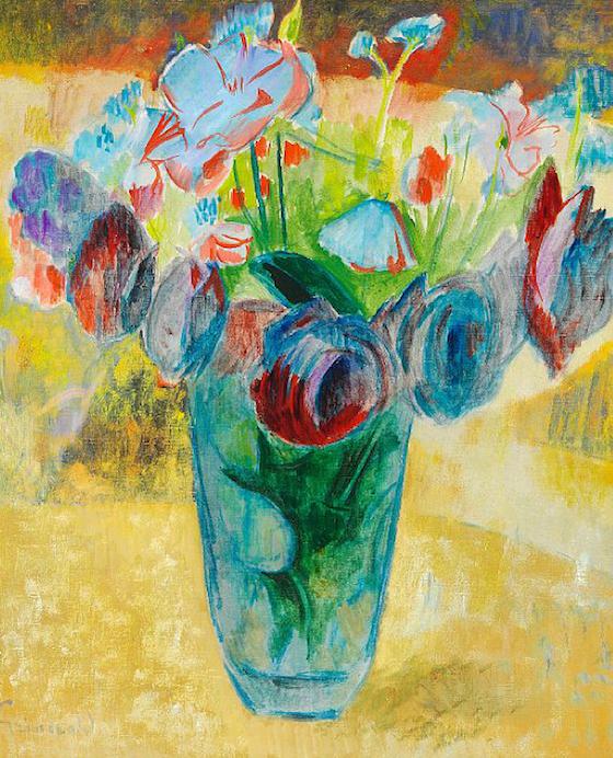 En annan svensk som finns representerad är Isaac Grünewald med ett blomsterstilleben