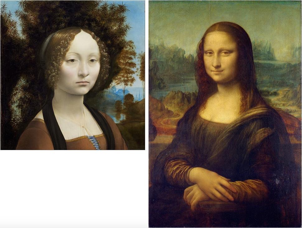 Links: Bildnis der Ginevra de' Benci, Öl/Holz, um 1474-78, Washington, D.C., National Gallery of Art Rechts: Mona Lisa, Öl/Holz, um 1503-05, Paris, Musée du Louvre