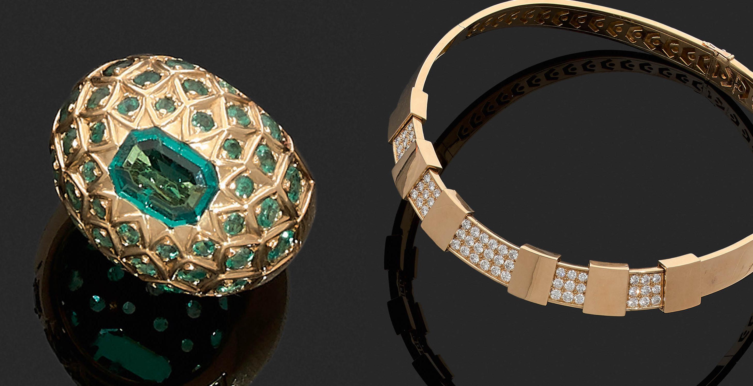René Boivin, bague « Écailles » émeraudes, collier « Cachette », images ©Tajan