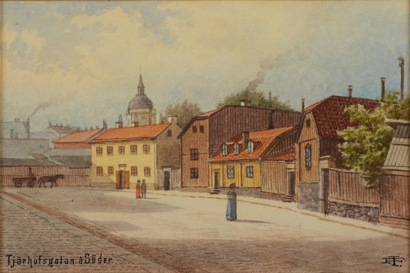 """JOHAN FREDRIK ISBERG (1846-1904): """"Tjärhofsgatan å Söder"""" vy över Katarina kyrka, monogramsignerad, akvarell, ca 10x15,5 cm;"""